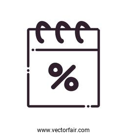 calendar with percentage line style icon vector design