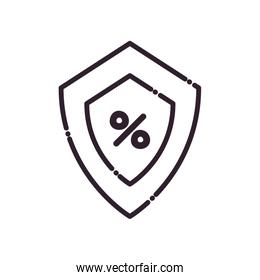 shield with percentage line style icon vector design