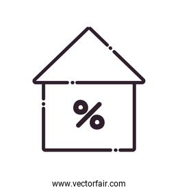 house with percentage line style icon vector design