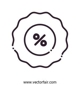 seal stamp with percentage line style icon vector design