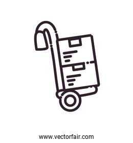delivery boxes over cart line style icon vector design