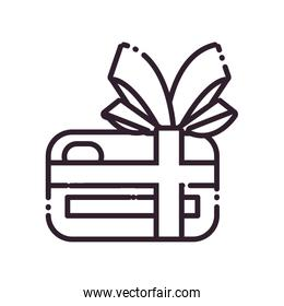 Isolated credit card with bowtie line style icon vector design