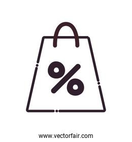 Shopping bag line style icon vector design