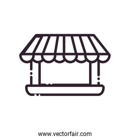 laptop with tent line style icon vector design
