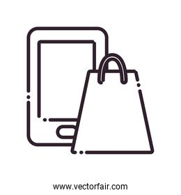Shopping bag and smartphone line style icon vector design