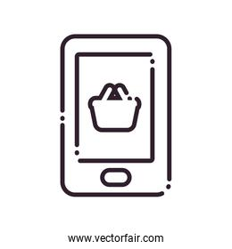 Shopping basket inside smartphone line style icon vector design