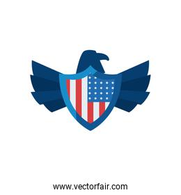 usa eagle with flag shield fill style icon vector design