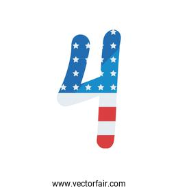 usa number four fill style icon vector design