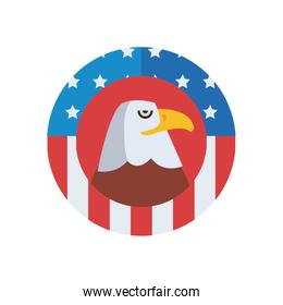 eagle with usa flag fill style icon vector design