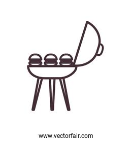 Isolated hamburgers grill food line style icon vector design