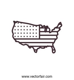 usa map line style icon vector design