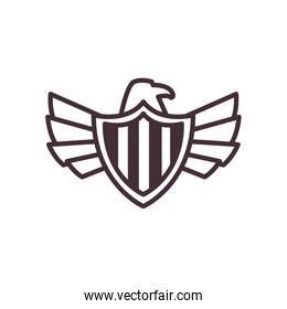 usa eagle with flag shield line style icon vector design