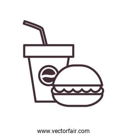 Isolated soda mug and hamburger food line style icon vector design