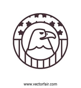 eagle with usa flag line style icon vector design