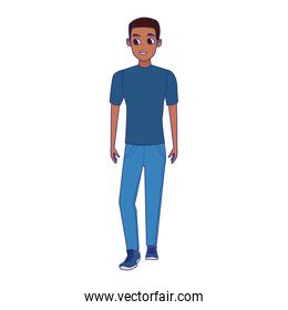 cartoon afro man wearing casual clothes over white