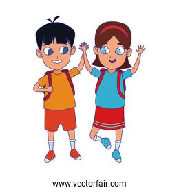 cartoon of smiling girl and boy icon, flat design