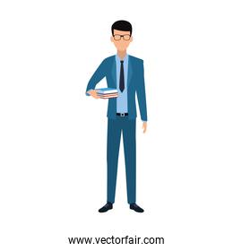 avatar businessman with books icon