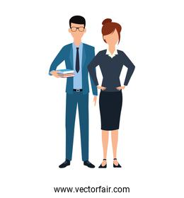 businesswoman and businessman standing icon