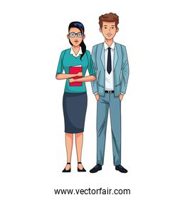 avatar business young woman and man icon