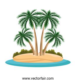 island with palms icon, flat design