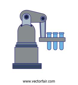 robotic arm with test tubes icon, flat design