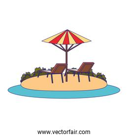 beach with parasol and seats icon