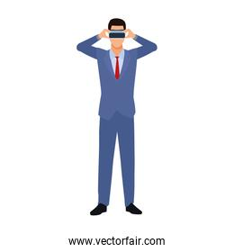 businessman with virtual reality glasses icon, flat design