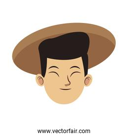 cartoon oriental man with traditional hat