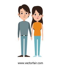 young couple icon, flat design