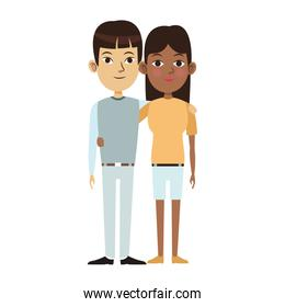 woman and man standing design