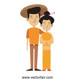 oriental woman and man standing icon