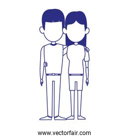 woman and man standing icon, flat design