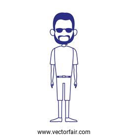 hipster man standing icon , flat design