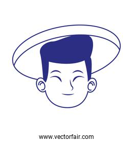 cartoon oriental man with traditional hat over white background, blue design