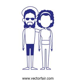 cool afro couple icon, flat design