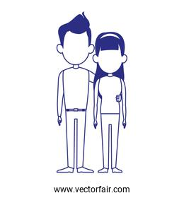 young couple standing icon, colorful design