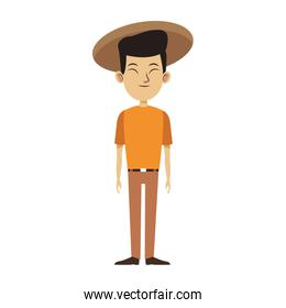 oriental man standing and wearing a hat