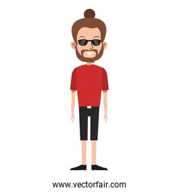 cartoon hipster man standing icon