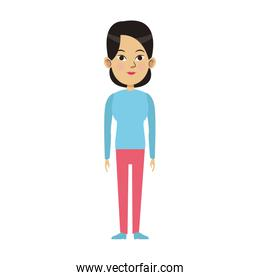 young woman standing icon, colorful design