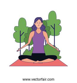 woman practicing yoga at outdoors icon