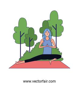 woman practicing yoga pose at outdoors icon, flat design