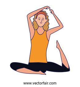 woman practicing yoga icon, colorful design