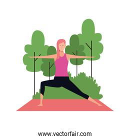 woman doing yoga at outdoors with trees, flat design