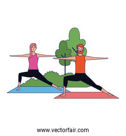 young woman and man practicing yoga poses at outdoors icon
