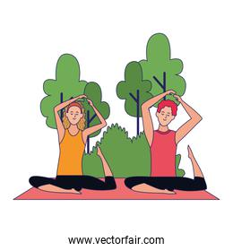 cartoon man and woman doing yoga at outdoors with trees