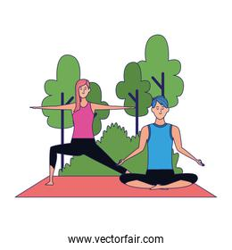 youth couple doing yoga at outdoors