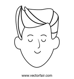 young man face icon, flat design