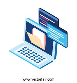 laptop computer with file icon, flat design