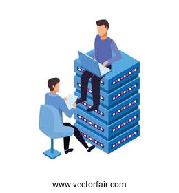 avatar man sitting on data server center and man sitting on a chair icon