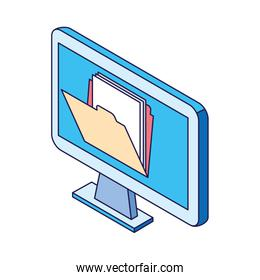 computer with folder on screen design